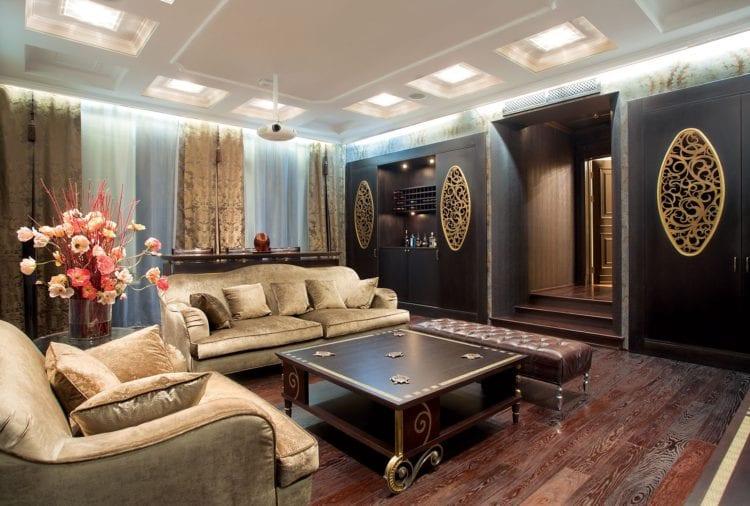 Цветовая гамма и оформление для неоклассической гостиной