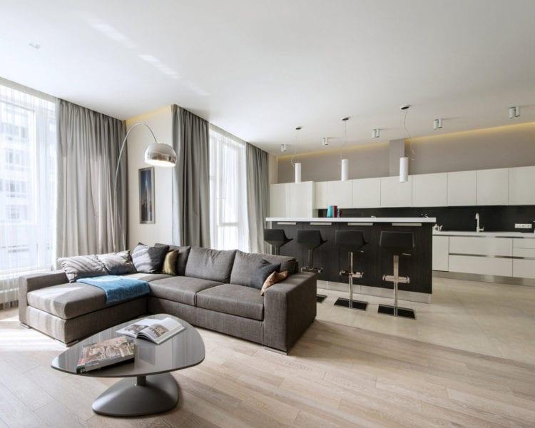 Зонирование кухни и гостиной в стиле минимализм