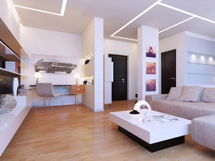 Освещение: делаем гостиную в стиле минимализм уютной