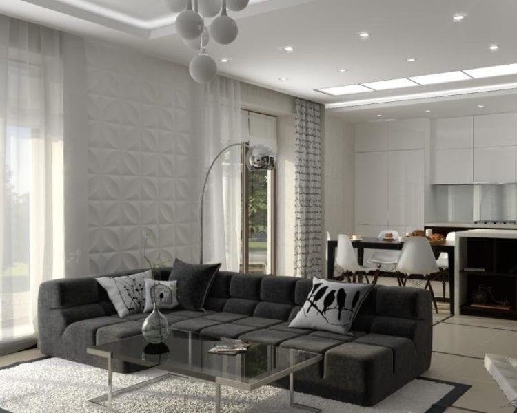 отделку гостиной в стиле минимализм