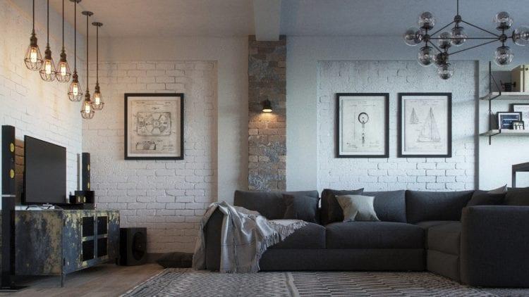 Стиль лофт в современной гостиной