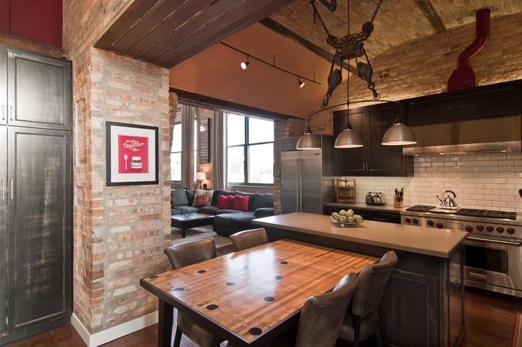 Кухня с гостиной в стиле лофт