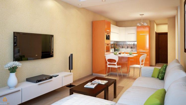 Островная кухня-гостиная в 16 кв. м. с диваном