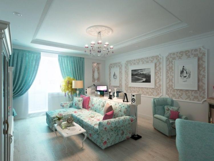 Зеленый диван в гостиной в стиле прованс