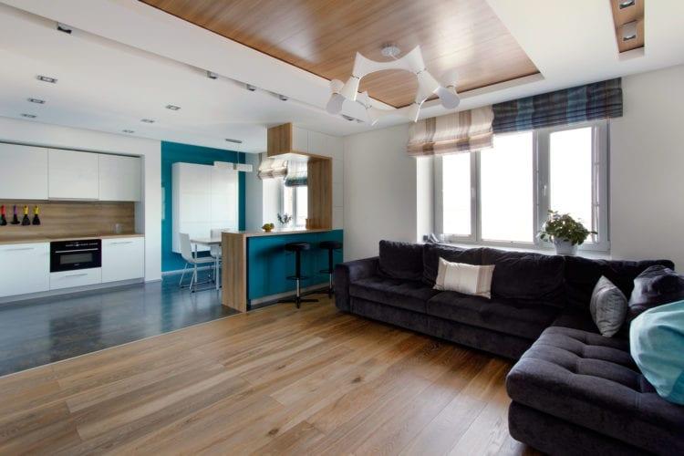 Бирюзовая гостиная в стиле минимализм