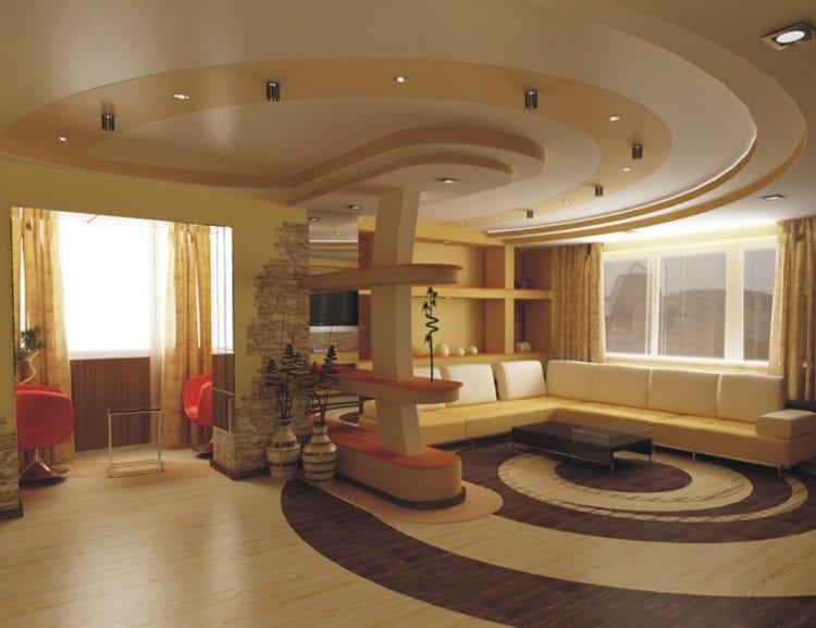 Трехуровневый потолок в гостиной
