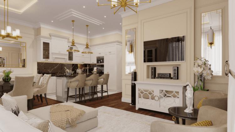 Планировка и мебель для кухни в неоклассическом стиле