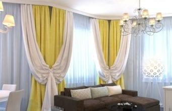 Двухцветные шторы в гостиную: варианты комбинирования и оригинальные идеи для самостоятельного пошива
