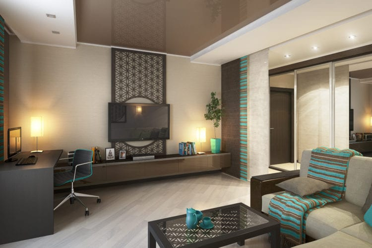 Дизайн гостиной в стиле хай тек