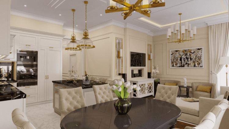Оформляем кухню-гостиную в стиле неоклассика