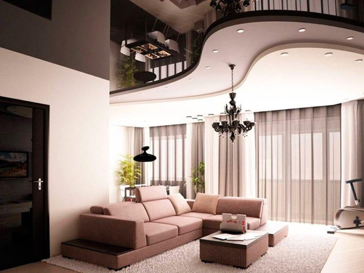 Комбинированный натяжной потолок в гостиной
