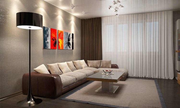 диван цвета кофе с молоком в интерьере гостиной