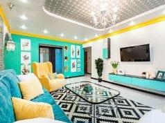 Бирюзовая гостиная – кусочек морского побережья в вашем доме