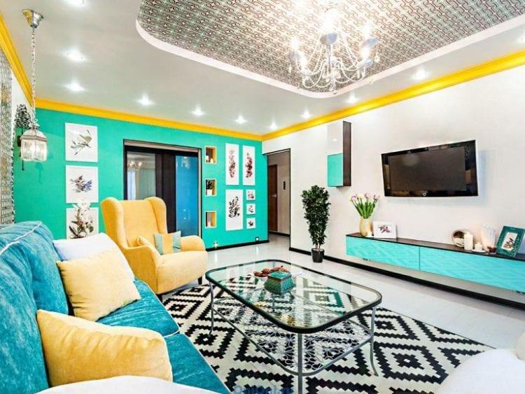 Желто-голубая гостиная