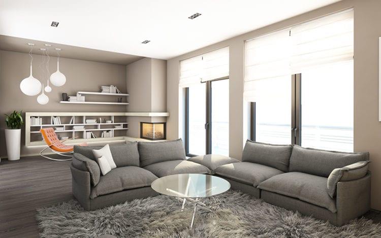 Выбор штор в гостиную в стиле хай-тек с бежевыми обоями