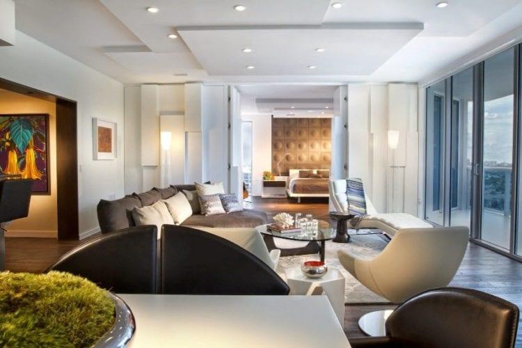 Многоуровневые потолки для гостиной из гипсокартона