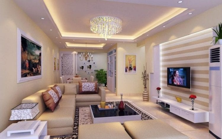 Двухъярусные потолки для зала и гостиной