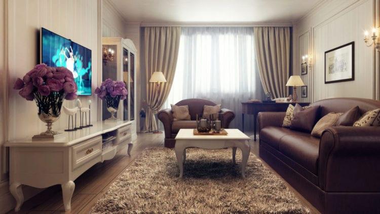 Выбор штор в гостиную в классическом стиле с бежевыми обоями