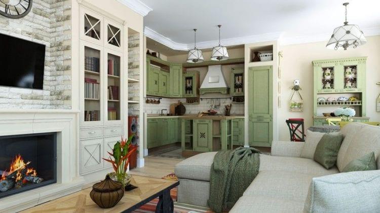 Кухня-гостиная в стиле кантри
