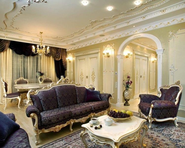 Дизайн гостиной в стиле барокко - выбор королей