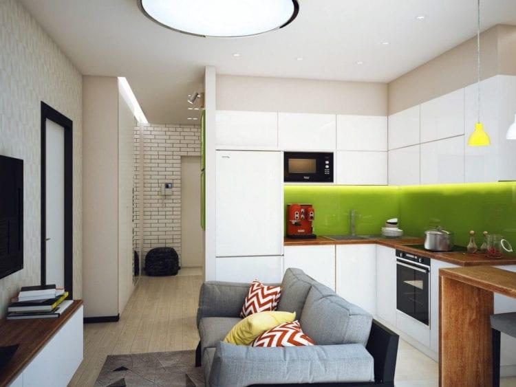 Дизайн кухни-гостиной 16 кв. м.