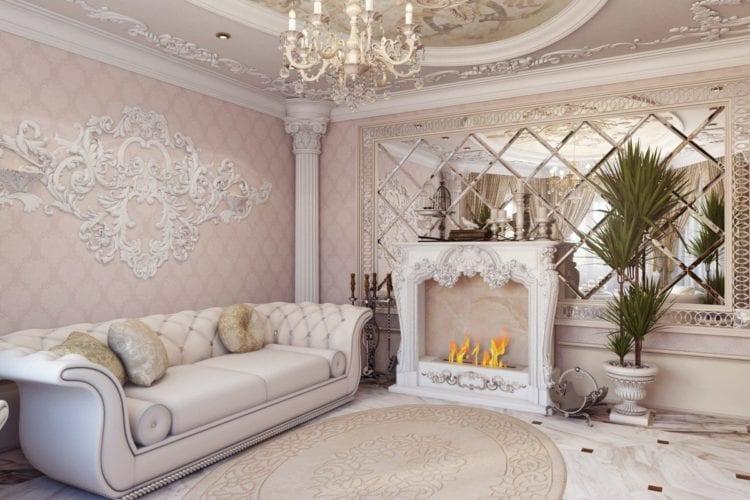 Двухуровневые потолки из гипсокартона для гостиной и зала в стиле барокко