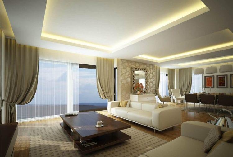 Двухуровневый навесной потолок из гипсокартона с подсветкой