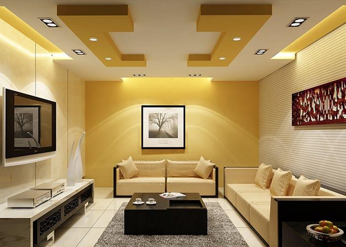 Потолки из гипсокартона в гостиной