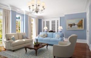 Гостиная в голубых тонах – освежающий интерьер для городского жителя