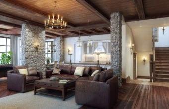 Интерьер гостиной в стиле кантри – уютный уголок независимо от этажа и площади