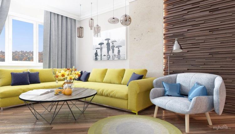 желто-коричневый диван в гостиной