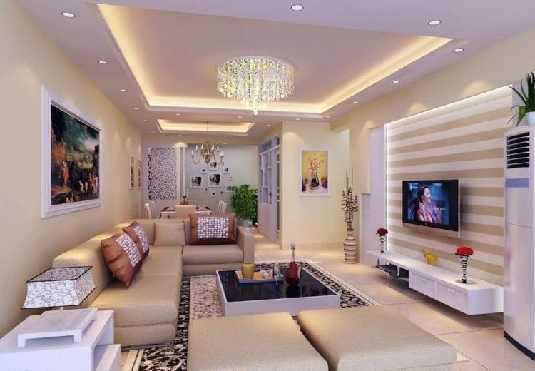 Двухуровневые потолки из гипсокартона для гостиной и зала - практичное решение