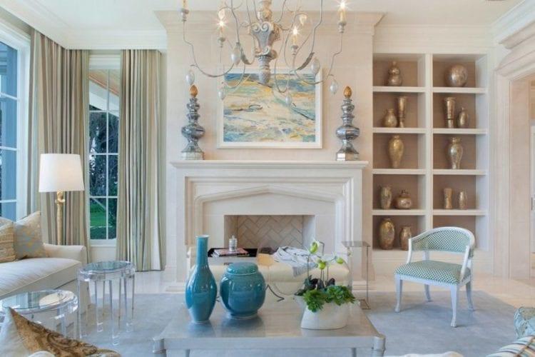 Серебристо-голубая гостиная