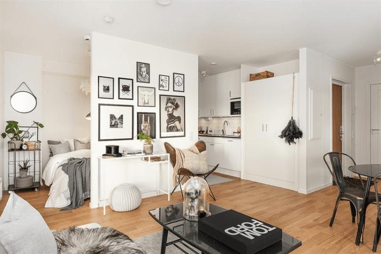 Зонирование пространства на гостиную и спальню