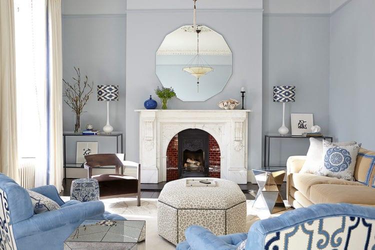 Серо-голубая гостиная