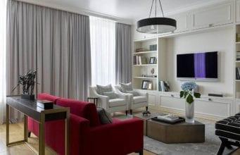 Серые шторы в гостиной – строгие нотки для изысканной атмосферы