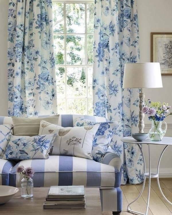 Голубые шторы в стиле Прованс