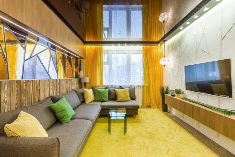 Ремонт гостиной прямоугольной формы