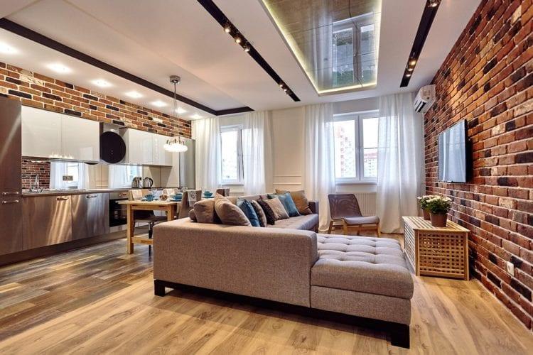 Зонирование потолка в кухне-гостиной