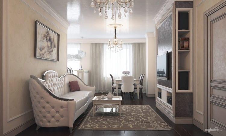 Классический дизайн гостиной комнаты 18 кв. м.