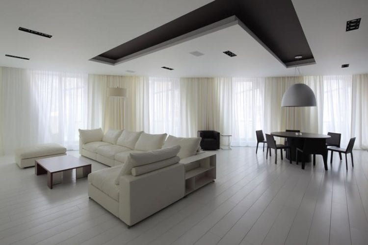 Натяжные потолки в гостиной в стиле минимализм
