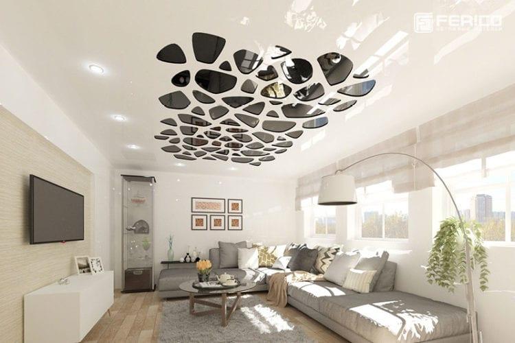 Перфорированные натяжные потолки для гостиной