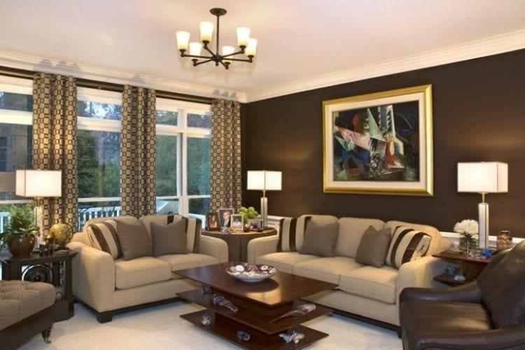 Зонирование кухни и гостиной цветом стен
