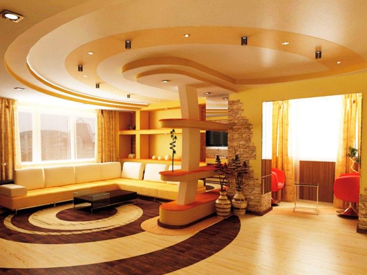 Натяжные потолки для гостиной комнаты