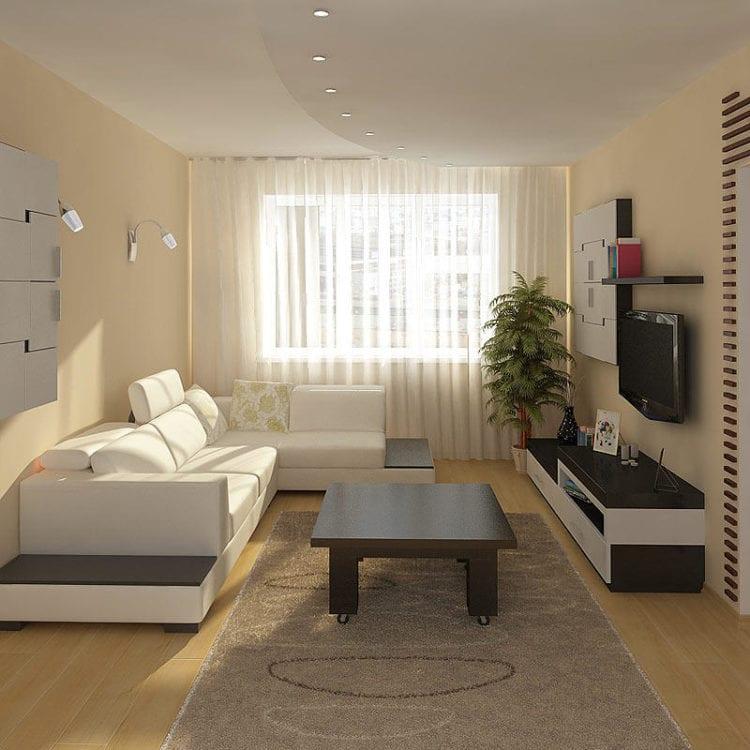 Угловые диваны в интерьере гостиной 18 кв. м.