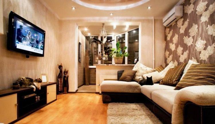Дзайн гостиной с балконом