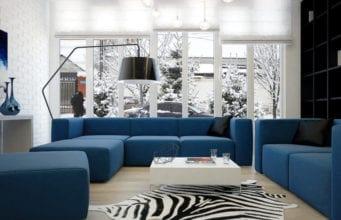 Синий диван – изюминка оригинального интерьера гостиной