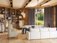 Гостиная и кухня с гостиной в стиле шале – интерьер с альпийской атмосферой