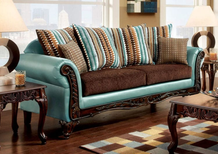 Синий с коричневым диван