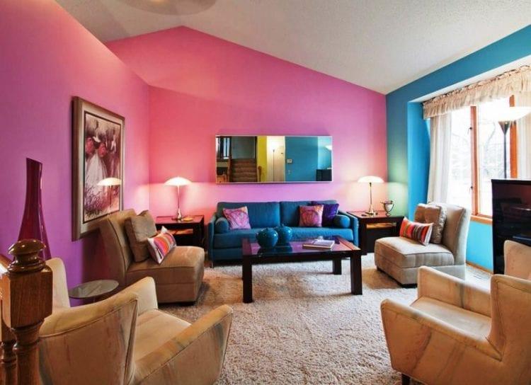 Голубой и розовый в интерьере